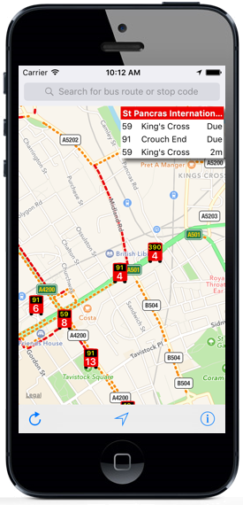 London Live Bus Map App on an iPhone