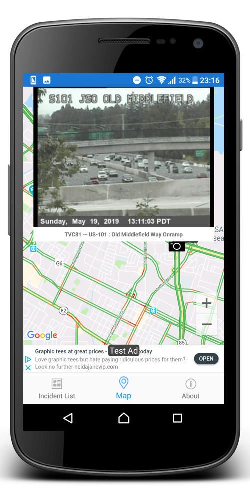 Tennessee Roads Traffic App on an Android